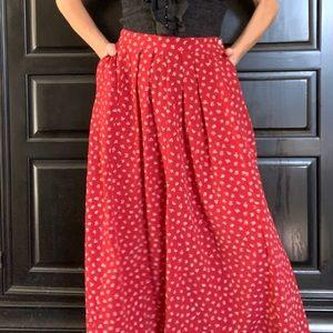 ‼️LIZ CLAIBORNE A Line Red Maxi Skirt Size 10‼️